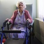 Elderly woman waiting